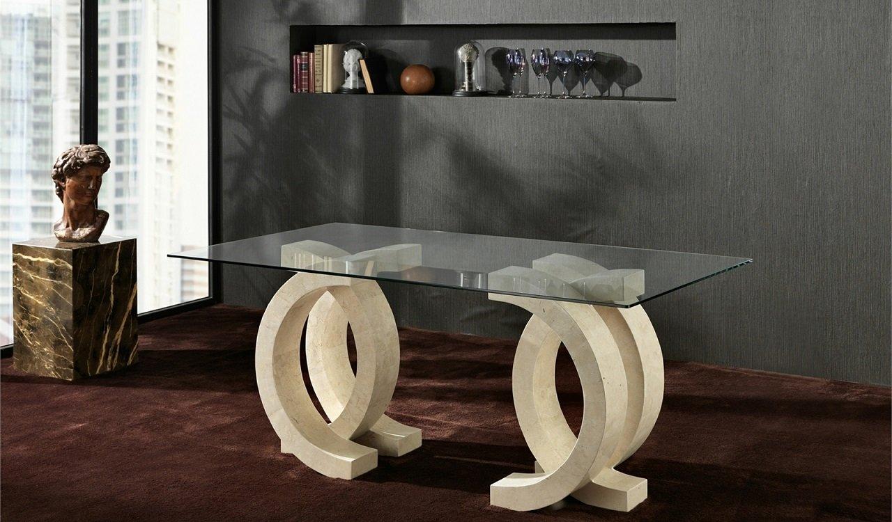 Tavolo in Pietra Fossile e Vetro Bianco Agata