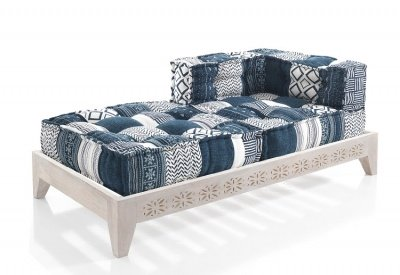 Chaise Loungue Dormeuse in Stile Etnico Tessuti Patchwork Blu e Bianco
