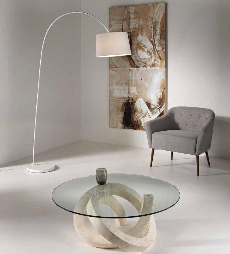 Tavolino da salotto tondo in pietra fossile bianca e vetro for Tavolino per salotto