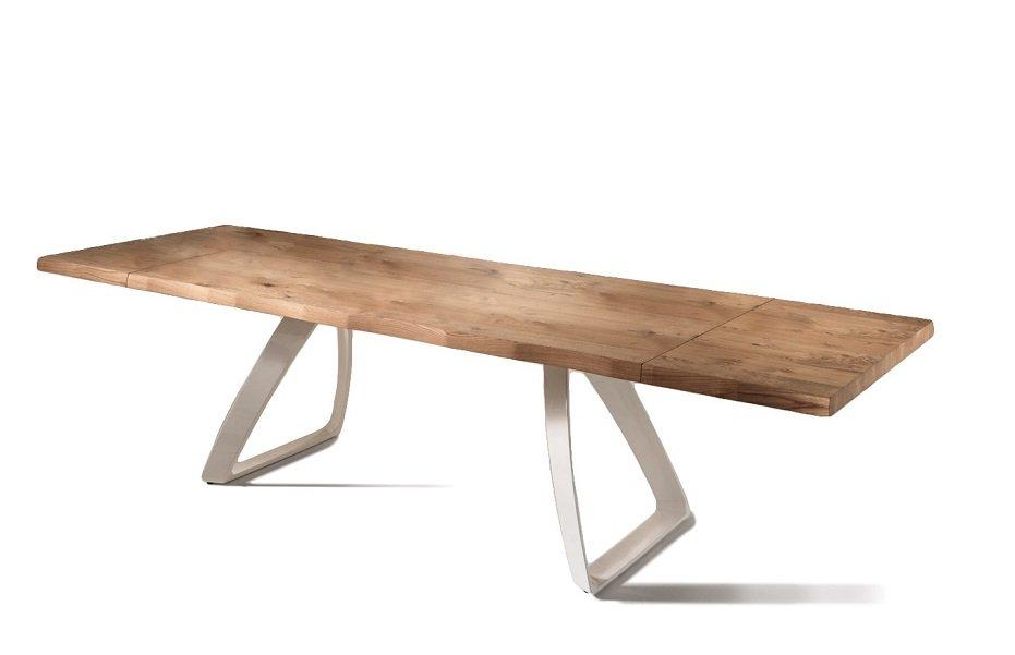 Tavolo da pranzo allungabile in legno e base bianca - Tavola da pranzo allungabile ...